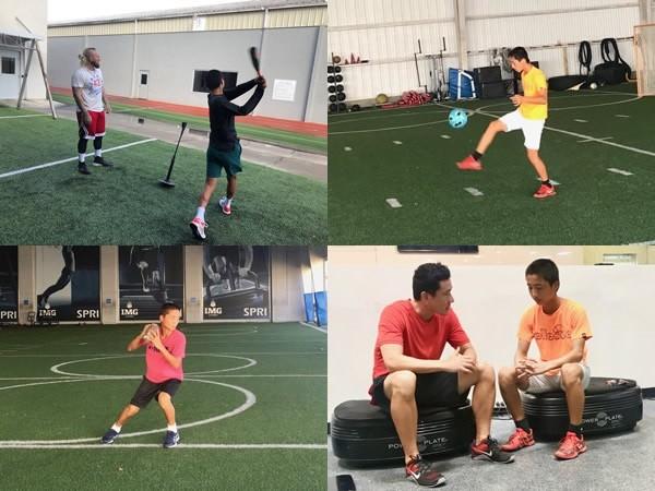 野球、サッカー、アメフト……トレーニングでは、テニス以外のさまざまな競技を取り入れている