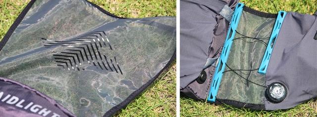 (左)超軽量で疎水性の高いメッシュ素材。 (右)フィットはダイヤル式で、簡単にきめ細かく調整できる。