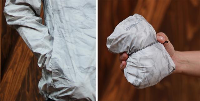 (左)左右にジップポケットを配置し使い勝手を重視。(右)コンパクトに収納可能なパッカブル仕様。