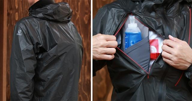 (左)内側にバックパックを背負えるよう、背中はゆとりがあるカッティング。(右)内側のバックパックから装備を取り出せるアクセスファスナー。