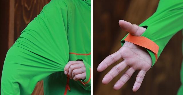 (左)最大の特徴はソフトシェルならではのストレッチ性。(右)袖が長めでサムホール仕様。
