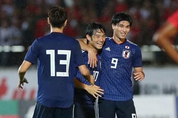 ミャンマーとのW杯アジア予選初戦は、中島(中央)のゴールなどで日本が勝利を収めた