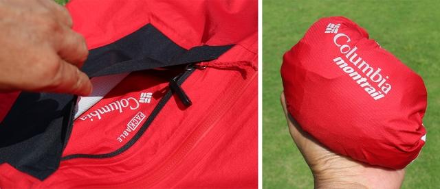 左胸の大きなジップポケットに本体を収納可能なパッカブル仕様。