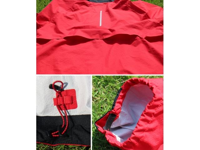 (上)背中が大きく空いたベンチレーション。 (下左)裾の両サイドはドローコードで調整可能。 (下右)シンプルだがしっかりと機能するサムホール。