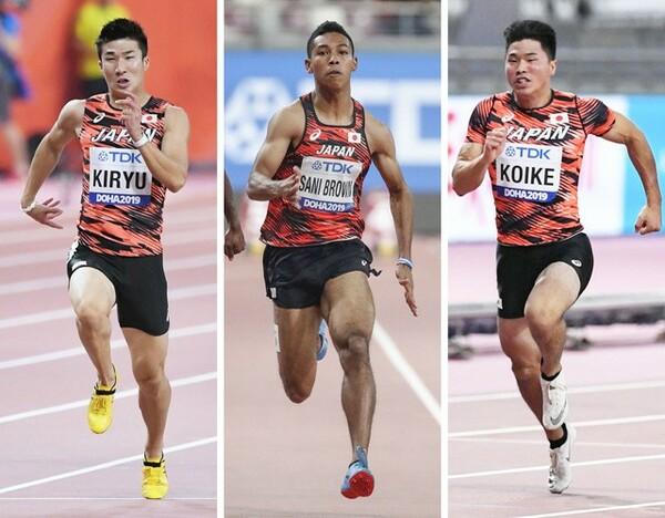 悲願の決勝進出はならなかった(左から)桐生、サニブラウン、小池。3人の予選、準決勝の走りがどうだったのか、伊東浩司氏が解説