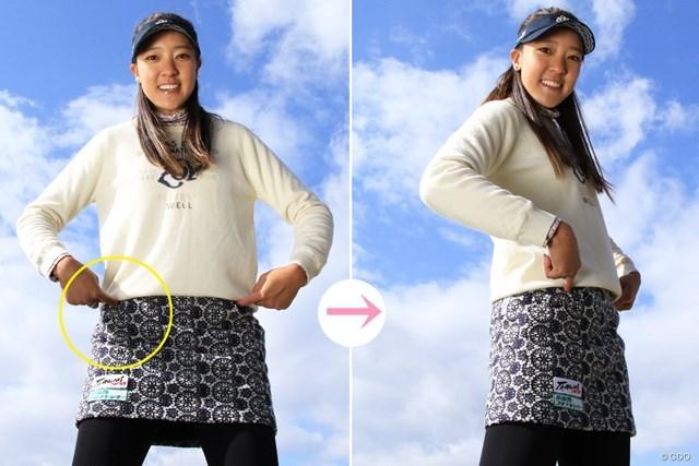 ただし右肩は正面を向いたままのイメージ(×上体も回してしまうと引っかけが出る)