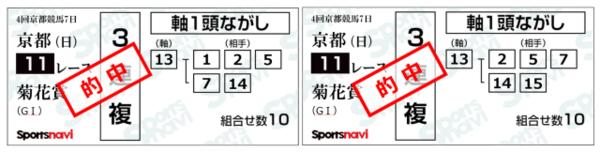前週の菊花賞はVUMA(左)、スポナビ(右)とも的中! 8番人気のサトノルークスを逃さなかった