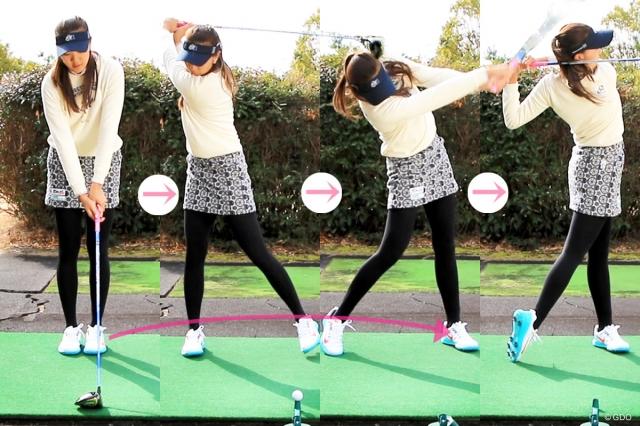 実際のスイングでも同様な体重移動(右足→左足)のイメージ
