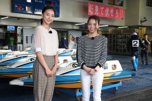 ピット裏の装着場を訪問した大山選手と畠山さん。第2回は、貴重なボートレースの裏側を垣間見ます
