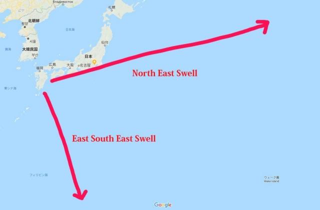 宮崎は海岸線が長く広い角度でスェウルを受け止める。