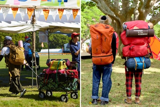 (左)アウトドアワゴンなら一度に沢山の荷物を運べるが、段差と坂道が天敵!(右)上手くパッキングさえできれば、バッグひとつでどこへでも!