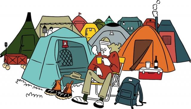 突然の雨や風から身を守ってくれるテントに、ベッド代わりの寝袋とスリーピングマット、夜間の行動を助けてくれるライト、コーヒーを沸かすためのケトルにコップ、バーナーなど。そして、携行すればどこでも一息つける折りたたみチェアも忘れずに!