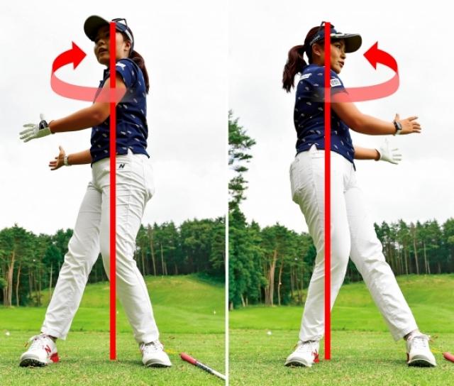 肩をヨコに回そうとすると、トップでは左足体重、インパクトでは右足体重になり、スイング軸がブレてしまう