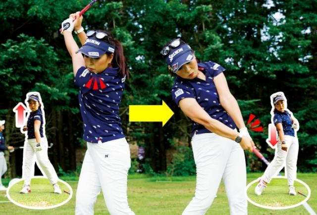 """空手の""""瓦割り""""のイメージでバックスイングでは右拳を引き、インパクトで右拳を出すと、肩はタテ回転する"""
