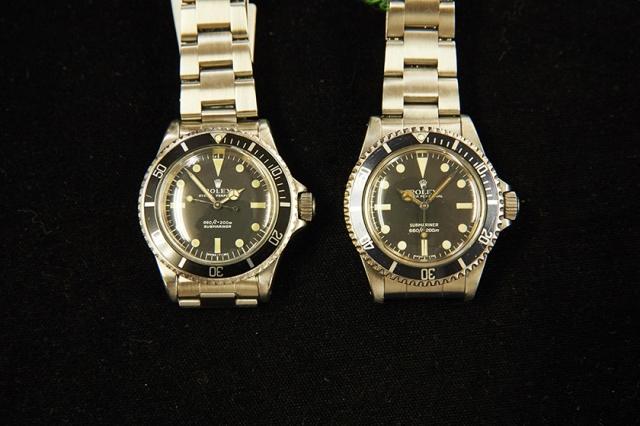 1968年製(左)と1981年製(右)のサブマリーナ。よく見ると右の方が、王冠がわずかにスラリとしている。左右で、「SUBMARINER」の表記位置も入れ替わっているのがわかる。