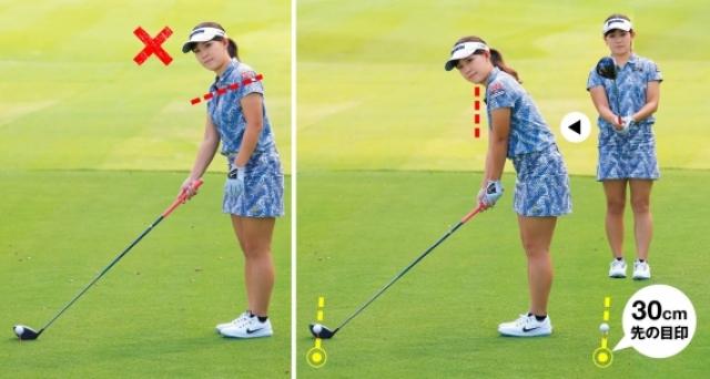 右手だけでフェースを目標に合わせると、肩のラインが開きやすい。両手で握ったままアドレスに入るとターゲットラインと肩のラインを平行にセットできる