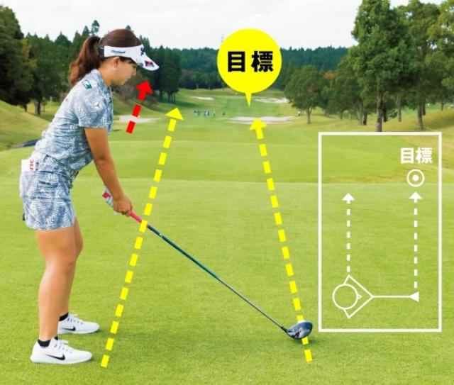 目標とボールを結んだラインと、肩のラインは平行なので、ずっと交わらない。だから肩のラインは目標よりも左を向くのが正しい