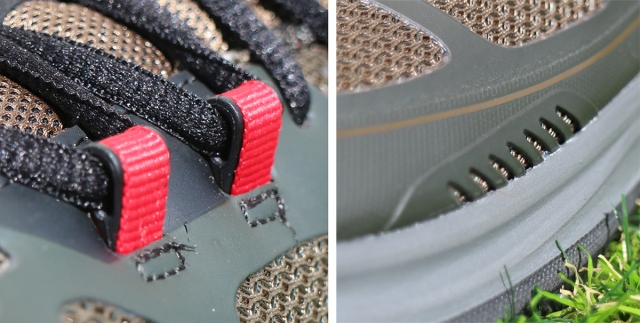 (左)シューレースの滑りを良くしている甲部分 (右)水と湿気を逃すドレーネージ・ポート