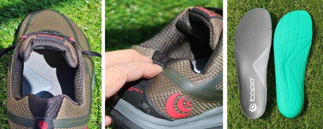 (左)タンも足首周りも厚めでふんわりした履き心地。 (中)踵の補強は最低限なので柔らかめ。 (右)インソールはオーソライト製で足裏をふんわりと包む。