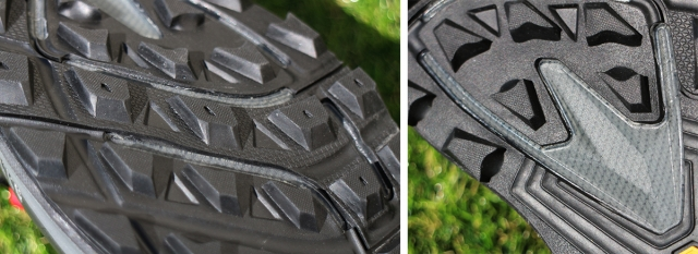 (左)Topo Athleticの多くのシューズで共通の6mmのラグ。泥が詰まりにくく、フラット感も高い。 (右)突き上げからガードするロックプレートは柔軟性もあり、フレックスへの影響も少ない。