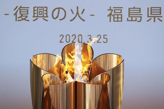 福島県で展示されていた東京五輪の聖火。聖火リレーが中止となり、今後の対応が注目される