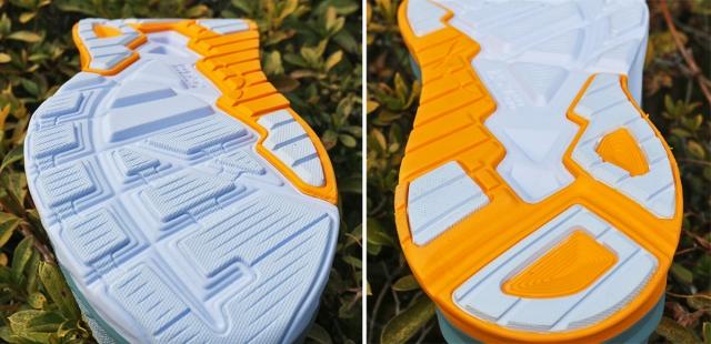 (左)同色なので判別しにくいが、ざらざら部分がアウトソール。 (右)オレンジの部分がしっかりしたフォーム材のJ-Frame™。