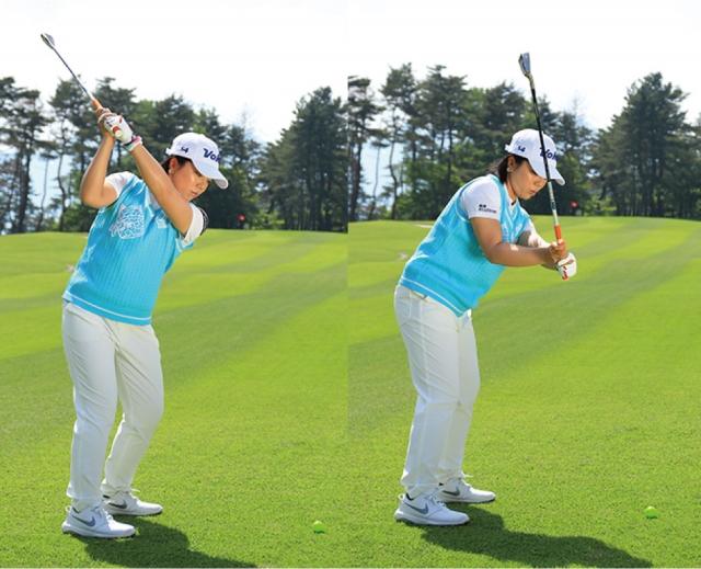 ダウンスイングで力が入ると、手元が前に出てボールを打ちにいくこ とに。アウトサイド・イン軌道にな り、左方向にミスしやすい。また、ボールも上がりにくくなる。切り返しは手ではなく、左ワキの付け根をまず 動かそう。