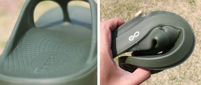 (左)足裏の形状に合わせてサポートするフットベッド。 (右)簡単に丸まってしまうほどしなやかなOOfoam。