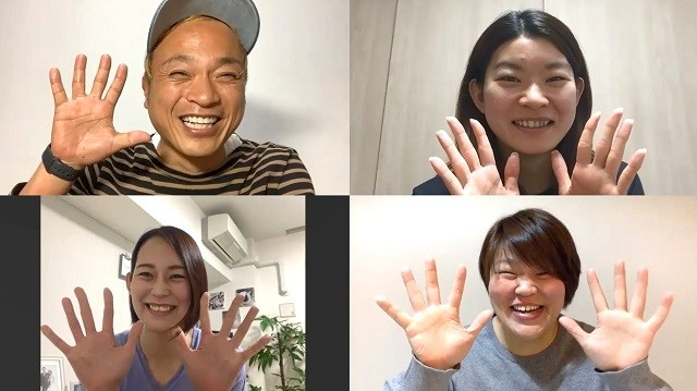 (写真右上から時計回りに)バドミントンの高橋礼華選手、柔道の杉本美香さん、バレーボールの大山加奈さんと、豪華メンバーがオンラインで集結した