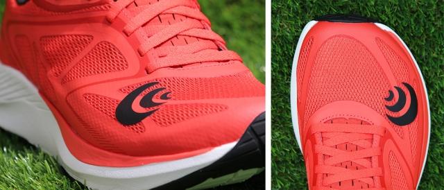 (左)シングルレイヤーのメッシュにオーバーレイの補強というベーシックなアッパー構成。 (右)足形に近いフォルムのフォアフットがTOPO  Athleticの特徴。