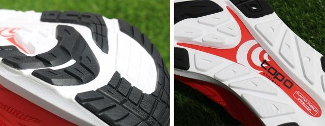 (左)4.5mmのアウトソールは必要な部分のみに装着。 (右)スプリング・プロパルション・プレート。実際の形状はしゃもじ型。