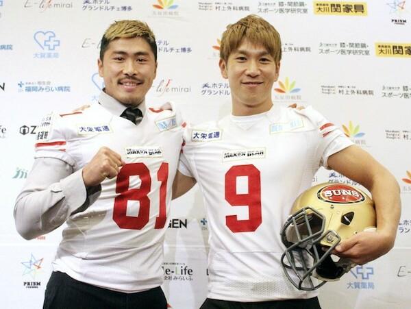 法政大学時代の盟友である元ブリリアンのコージ・トクダ(右)とともに、2020年はみらいふ福岡SUNSでプレーする栗原