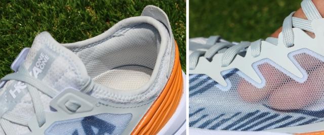 (左)タンが一体化され、ソックスのように足を包み込む。 (右)外側のメッシュはご覧の通りの極薄仕様。