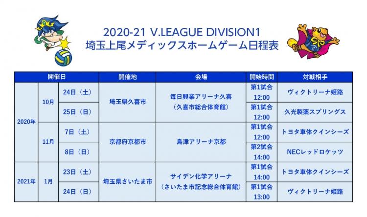 埼玉上尾メディックスホームゲーム日程表