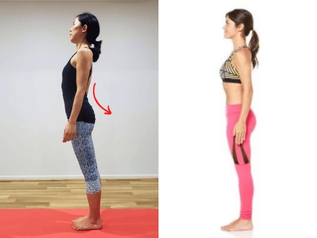 左:骨盤が前傾 / 右:尾骨が下がった骨盤がニュートラルな状態
