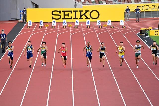 8月23日に行われたセイコーゴールデングランプリでは、男子100メートル決勝で5位に入賞した柳田(右から2番目)