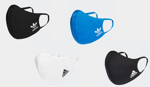「adidas FACE COVER(アディダス フェイス カバー)」¥1,990+tax 内容:1パック3枚入り カラー:ブラック Originals logo(写真 上左)/Sports Performance logo(写真 下右), ホワイト Originals logo/Sports Performance logo(写真 下左), ブルーバード Originals logo(写真 上右) サイズ:M・L(大人用), XS・S(子ども用)