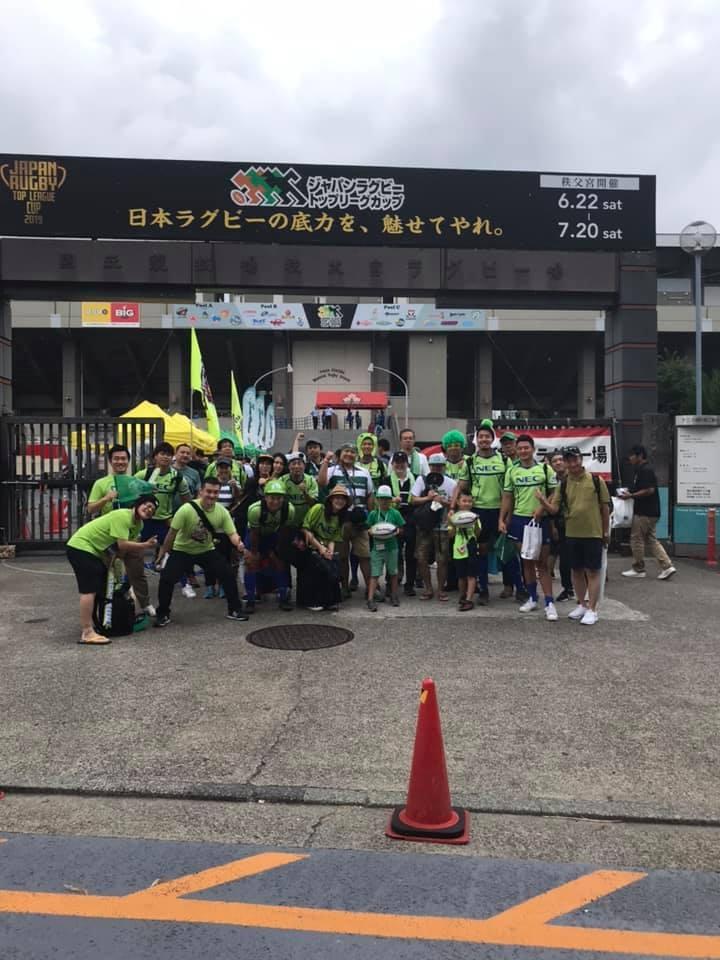 グリーンウォーク…緑のものを身につけて選手と一緒に試合会場まで歩く企画(2019年6月)