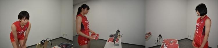 顔認証システムを古賀・山田・曽我 3選手も体験(※グッズ売り場での顔認証システム)