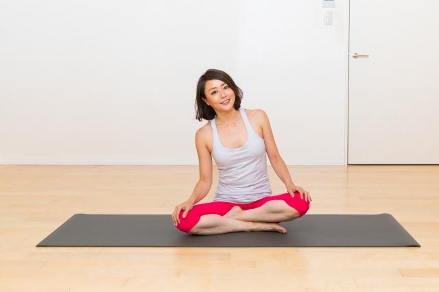 あぐらで座り、手を左右の膝において、体を左右に動かす。