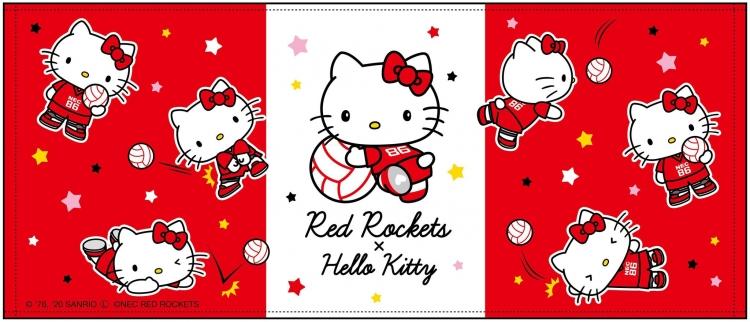 NEC RED ROCKETS × ハローキティ フェイスタオル