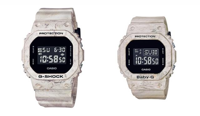 ▲左 G-SHOCK「DW-5600WM-5JF」¥12,000+tax, ▲右 BABY-G「DW-560WM-5JF」¥10,500+tax カラー:サンドベージュ