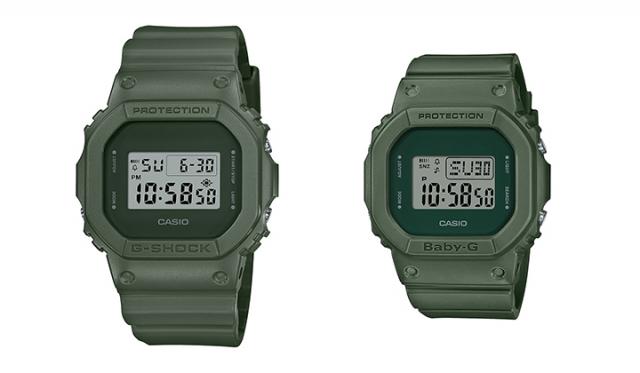 ▲左 G-SHOCK「DW-5600ET-3JF」¥11,000+tax, ▲右 BABY-G「DW-560ET-3JF」¥9,500+tax カラー:モスグリーン