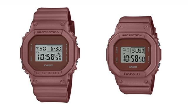 ▲左 G-SHOCK「DW-5600ET-5JF」¥11,000+tax, ▲右 BABY-G「DW-560ET-5JF」¥9,500+tax カラー:ブラウンレッド