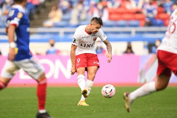 印象深いゴールのひとつに挙げた横浜FM戦のミドルシュート。ペナルティーエリア外から強烈なシュートを突き刺した