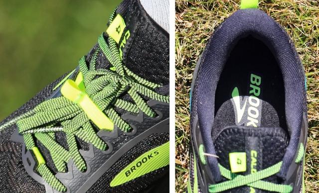 (左)結んだシューレースのバタ付きを押さえるレースバンド付き。 (右)履き口のカラーには十分なボリュームのパッドが入っている。