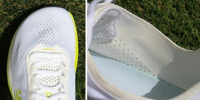 (左)Topo Athletic®︎の特徴であるルーミートウボックス。 (右)人工皮革のライナーはソフトで足当たりが良い。