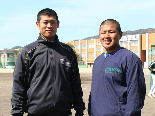 中学1年生からバッテリーを組む小園健太投手(左)と松川虎生捕手は、本気で日本一を狙う