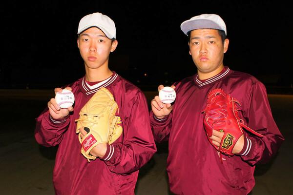 常総学院のダブルエース・大川慈英(左)と秋本璃空は、お互いに刺激し合い、成長を遂げてきた