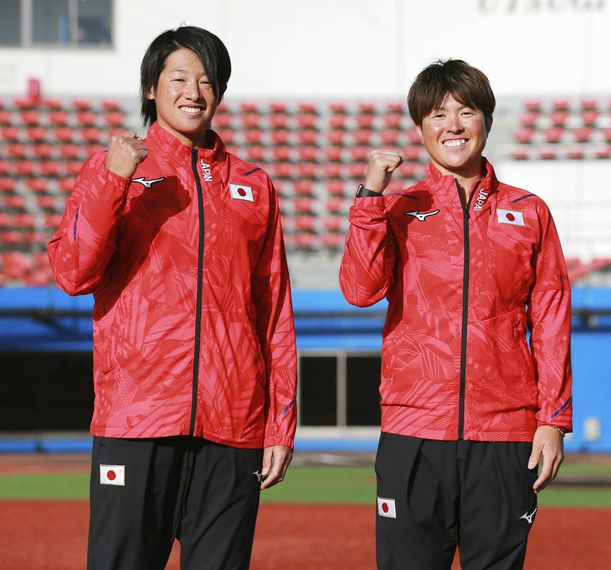 金メダル獲得へ向けて、投手の2本柱として活躍が期待される上野(写真左)と藤田